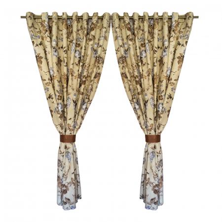 Set draperii Velaria in flori brown cu capse, 2*225x230 cm0