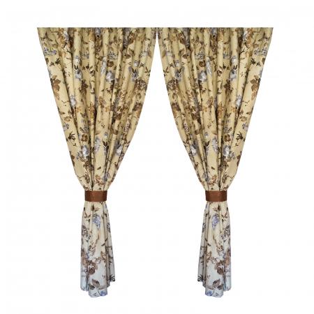 Set draperii Velaria in flori brown cu rejansa0