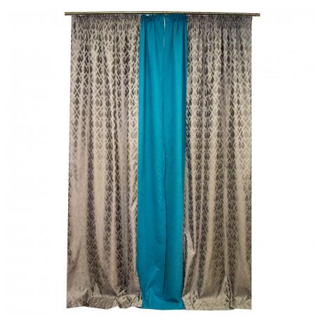 Set draperii Velaria romb gri cu turcoaz, 2x140x280 cm4
