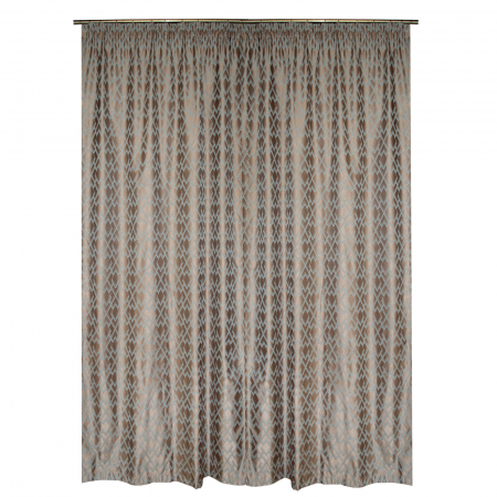 Set draperii Velaria tafta bej cu romburi turcoaz, 2*140x260 cm [2]
