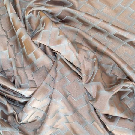 Set draperii Velaria tafta bej cu romburi turcoaz, 2*140x260 cm [1]
