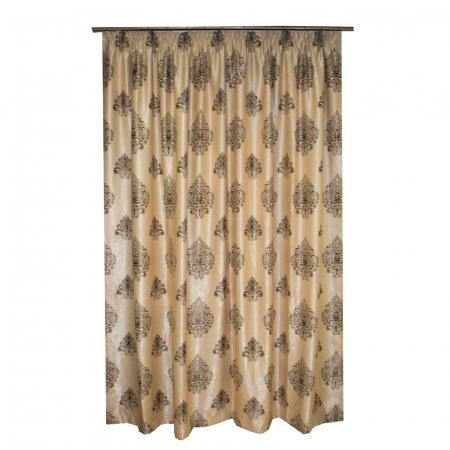 Set draperii Velaria blackout grej cu baroc wenge, 2*285x245 cm2
