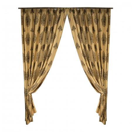 Set draperii Velaria blackout grej cu baroc wenge, 2*285x245 cm0