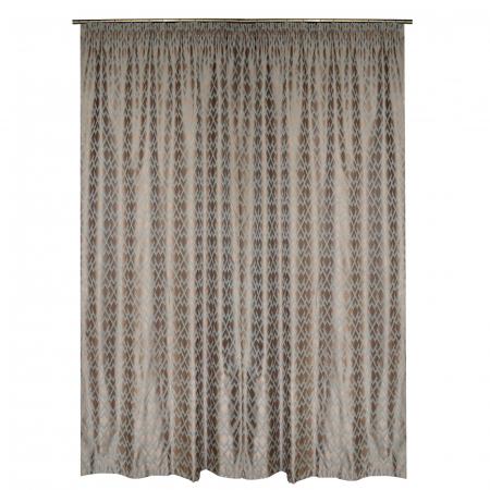 Set draperii Velaria tafta bej cu romburi turcoaz, 2*140x260 cm [3]