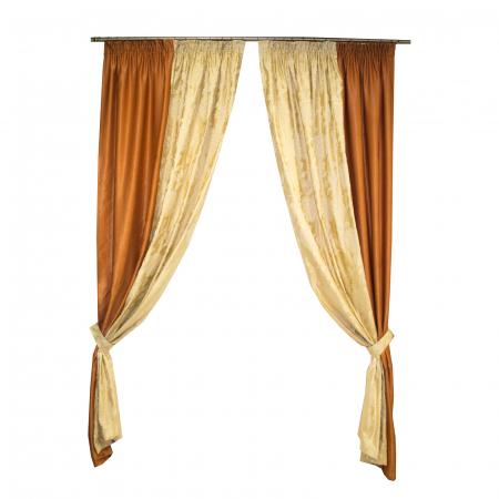 Set draperii Velaria tafta cu caramiziu, 2x160x260 cm0