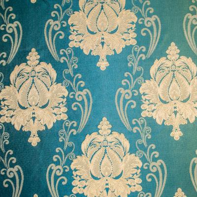 Set draperii Velaria tafta turcoaz cu baroc bej, 2*140x260 cm [1]