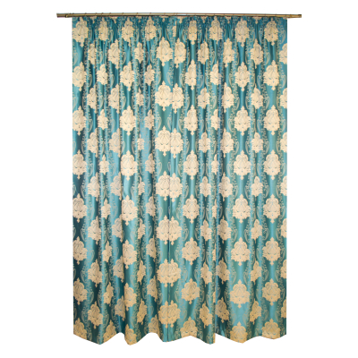 Set draperii Velaria tafta turcoaz cu baroc bej, 2*140x260 cm [2]