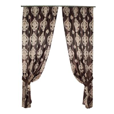 Set draperii Velaria tafta wenge cu baroc bej0