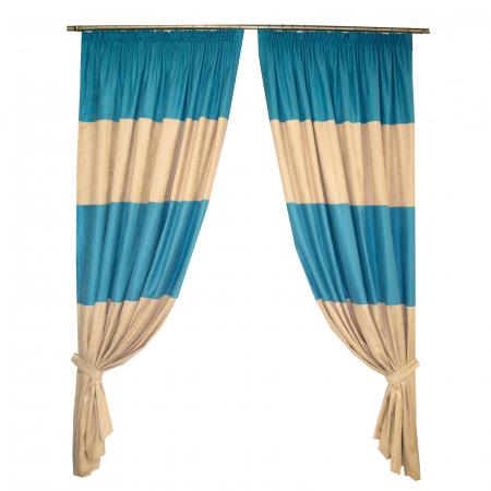Set draperii Velaria turcoaz-bej, diverse dimensiuni0