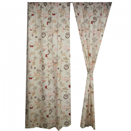 Set draperii Velaria in fluturi paris rosu 120x270x21