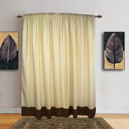 Set draperii Velaria unt cu banda maro, 2x150x245 cm0