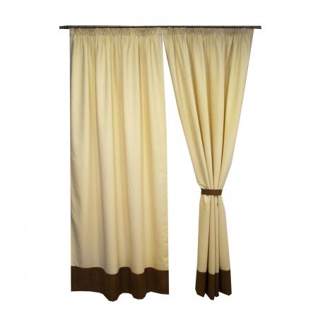 Set draperii Velaria unt cu banda maro, 2x150x245 cm2