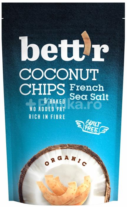 Chips de cocos bio cu sare, 70g [0]