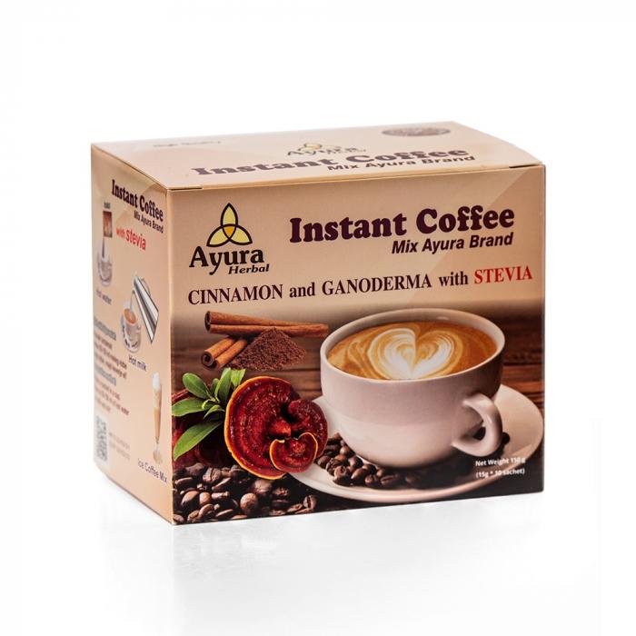 Cafea instant cu ganoderma si scortisoara, 10 plicuri x 4.5g [0]