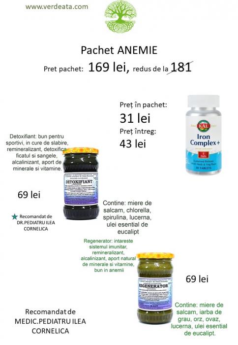 Pachet anemie: Regenerator, Detoxifiant, Iron Complex [0]