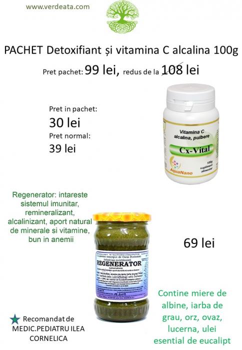 Pachet: Vitamina C alcalina 100g + Regenerator [0]