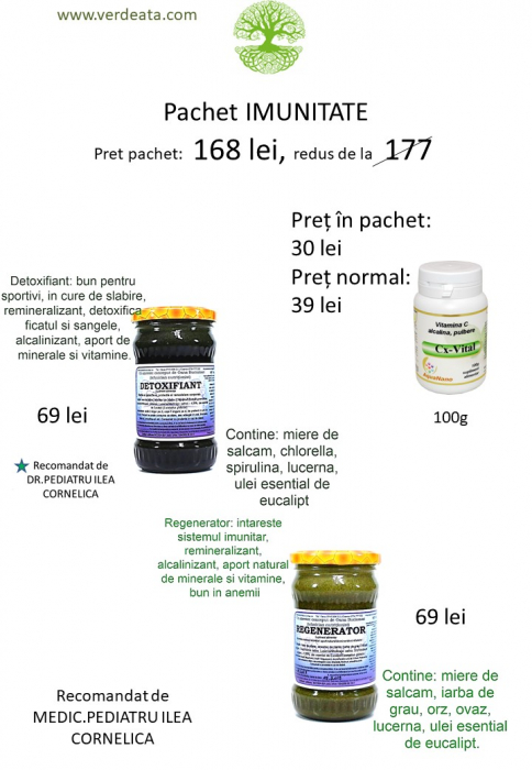 Pachet Vitamina C alcalina 100g + Regenerator + Detoxifiant [0]