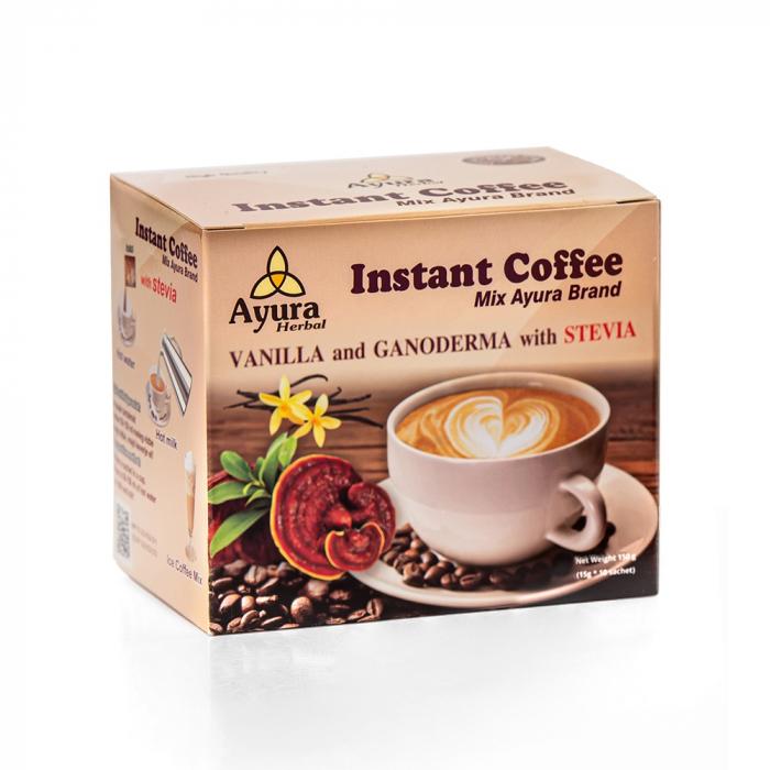 Cafea instant cu ganoderma si vanilie, 10 plicuri x 4.5g [0]