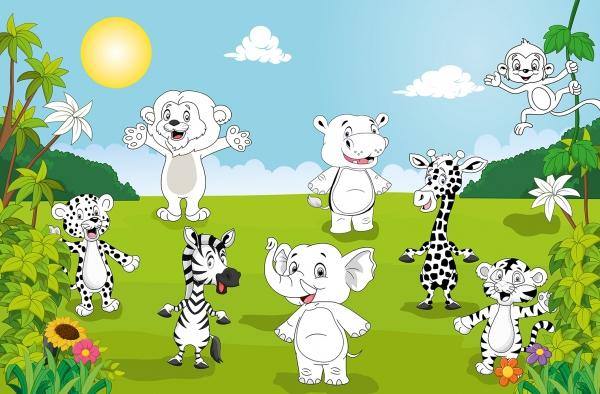 Fototapet 00605 Animale fericite Color it yourself [0]