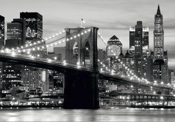Fototapet FTS 0199 Brooklyn Bridge in alb si negru 0