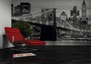 Fototapet FTS 0199 Brooklyn Bridge in alb si negru1