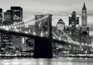 Fototapet FTS 0199 Brooklyn Bridge in alb si negru0