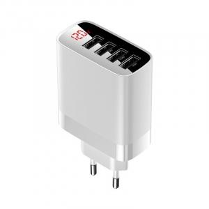 Incarcator USB Premium Baseus Mirror Lake Digital Display 4x Usb Travel Charger 30w 6a ,Alb [0]