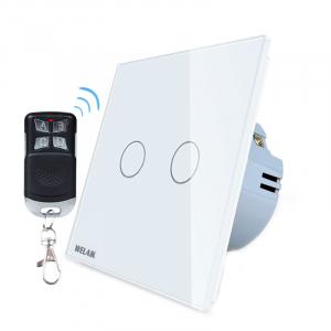 Intrerupator dublu cu touch Welaik, Wireless, Telecomanda inclusa, Alb [0]