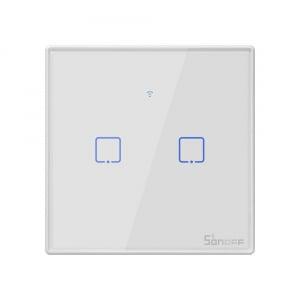 Intrerupator Smart  cu Touch WiFi + RF 433 Sonoff T2 EU TX, (2 canale) [0]