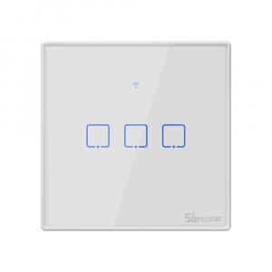 Intrerupator Smart  cu Touch WiFi + RF 433 Sonoff T2 EU TX, (3 canale) [0]