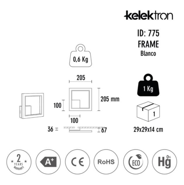 Kelektron lampa LED Frame IP20 PAR. 16W 40K CF. [2]