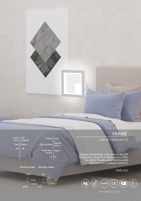 Kelektron lampa LED Frame IP20 PAR. 16W 40K W [3]