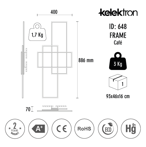 Kelektron Lampa LED Frame IP20 PAR. 50W 40K CF. [3]