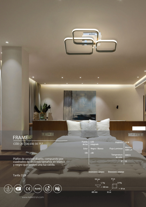 Kelektron Lampa LED Frame IP20 SUP. 30W 30K W. + B. [3]