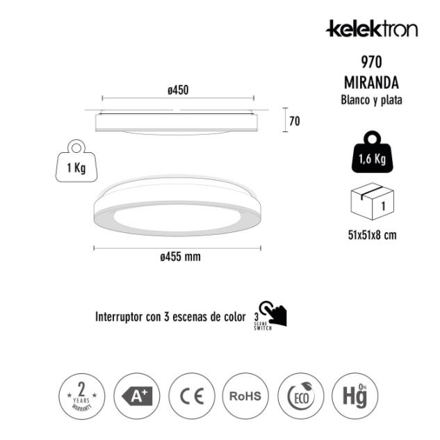 Kelektron Lampa LED MIRANDA IP20 SUP. 72W CF S. [1]