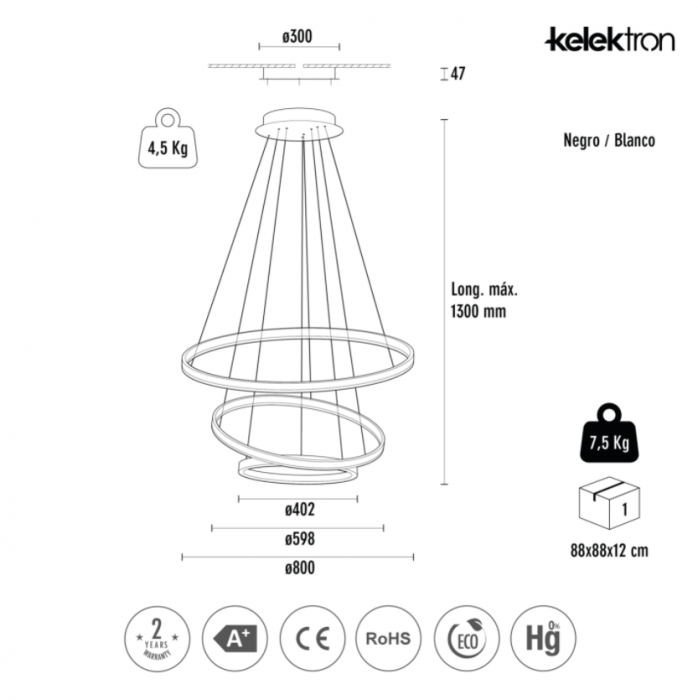 Lampa LED HOOP 4 IP20 COLG. 110W 30K [7]