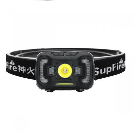 Lanterna LED pentru cap Supfire HL16, 5W, 500 lm, 1800 mAh, senzor de miscare, lumina rosie, incarcare USB, IP44 [0]