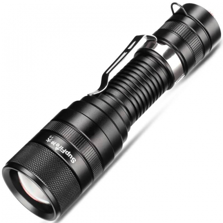 Lanterna LED SupFire F5 cu Zoom, 10W, 1100 lm, 5 moduri, rezistenta la apa, incarcare USB, Negru [0]