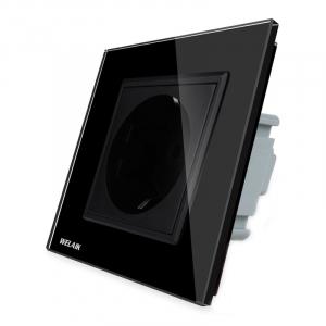 Priza simpla de perete Welaik cu rama din sticla, Negru [0]