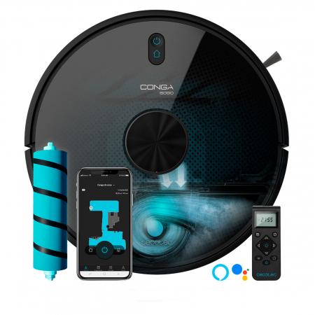 Robot de aspirare Cecotec Conga 6090 Ultra, 4 in 1, 10000 Pa, Laser, Autonomie 240 minute, Rezervor lichide si praf, Functie mop, 3 perii centrale, telecomanda inclusa [0]