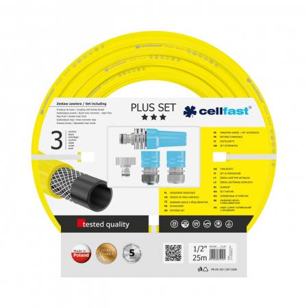 """Set furtun pentru gradina Cellfast Plus cu 3 straturi, 1/2"""", Armat, 25m, protectie UV, stropitor, conector [0]"""