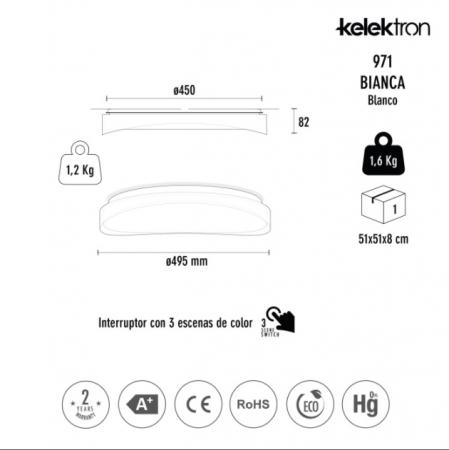 Kelektron Lampa LED BIANCA IP20 SUP. 72W CF W. [2]