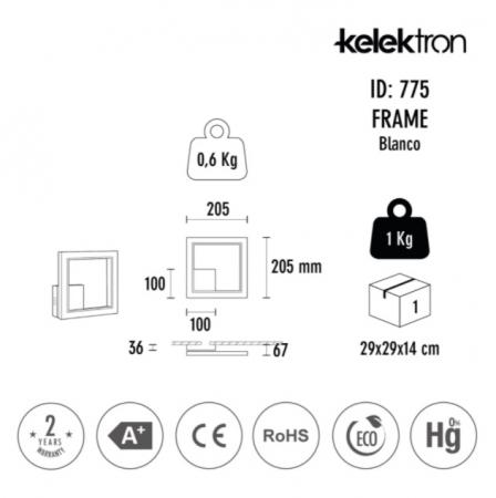 Kelektron lampa LED Frame IP20 PAR. 16W 40K W [2]