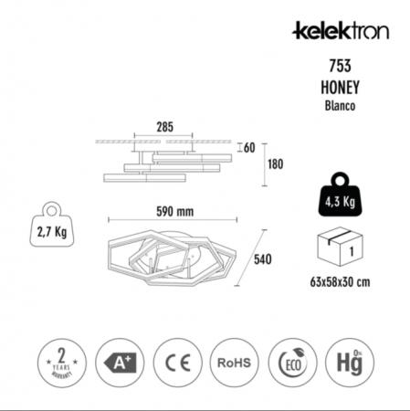 Kelektron Lampa LED HONEY IP20 SUP. 50W 30K W. [2]