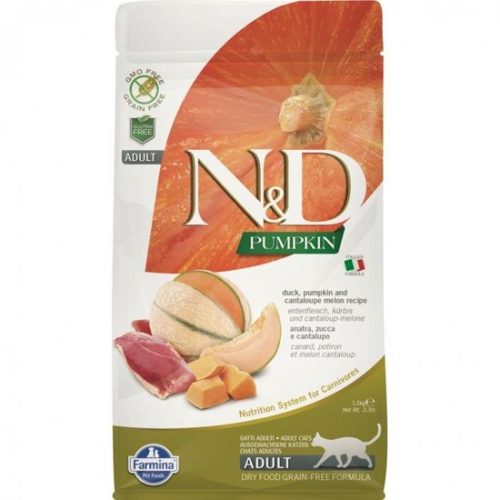 Farmina N&D Cat Grain Free Dovleac și Rață 1,5kg 0