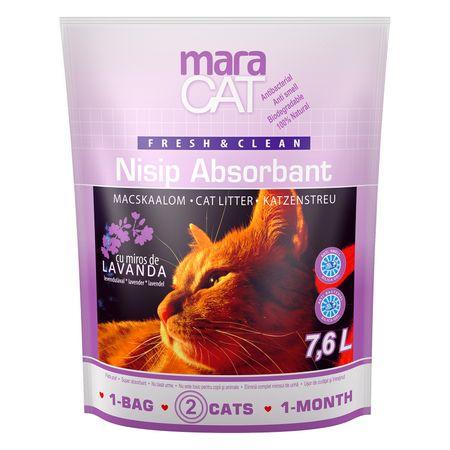 Nisip litiera pisici Maravet Maracat, Absorbant Silicat Lavanda, 7.6 L 0