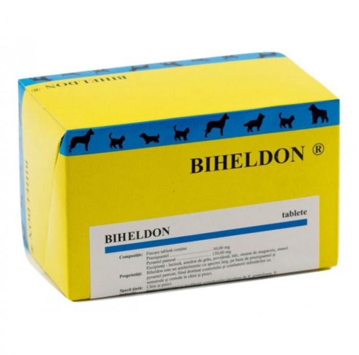 Tablete deparazitare internă pentru câini și pisici Biheldon 10 comprimate 0
