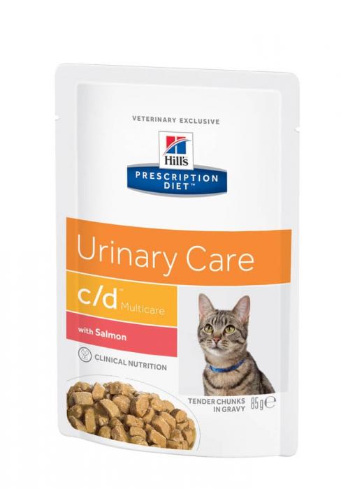 Hrana uscata dieta pentru pisici Hills PD C/D Felin cu Somon plic 85g 0
