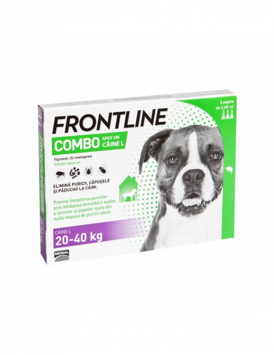 Deparazitare externa pentru caini Frontline Combo Dog L 20-40kg cutie cu 3 pipete 0