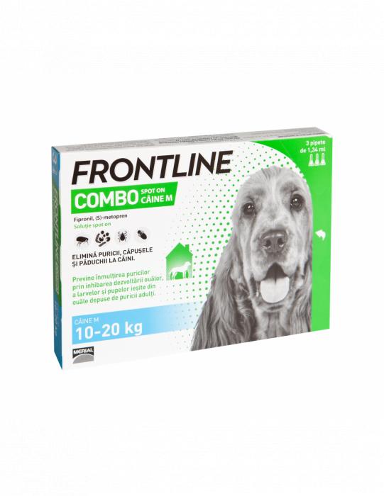 Deparazitare externa pentru caini Frontline Combo Dog M 10-20kg cutie cu 3 pipete [0]